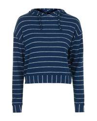 TOPSHOP - Blue Stripe Brushed Hoody - Lyst