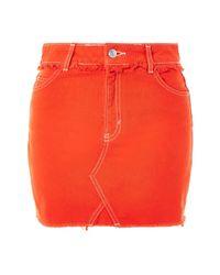 TOPSHOP - Moto Red Denim Mini Skirt - Lyst