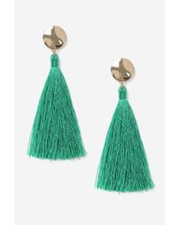 TOPSHOP - Green Stud Tassel Drop Earrings - Lyst