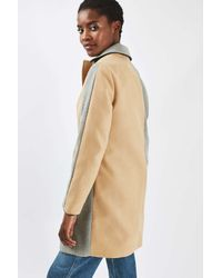 TOPSHOP - Gray Colourblock Boyfriend Style Coat - Lyst