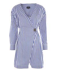 TOPSHOP - Blue Stripe Displaced Wrap Dress - Lyst