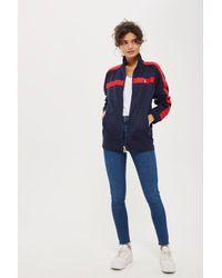 TOPSHOP - Blue Funnel Neck Tracksuit Jacket By Fila - Lyst