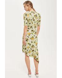 TOPSHOP   Green Ruched Floral Print Midi Shift Dress   Lyst
