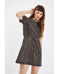 TOPSHOP - Multicolor Animal Belted Midi Dress - Lyst