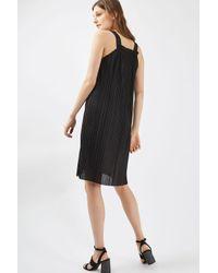 TOPSHOP - Black Pleated Midi Slip Dress - Lyst