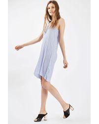 TOPSHOP - Purple Pleated Midi Slip Dress - Lyst