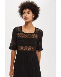 TOPSHOP - Black Crochet Panel Midi Skater Dress - Lyst
