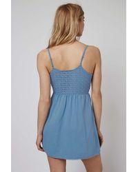 TOPSHOP - Blue Crochet Lace Sundress - Lyst