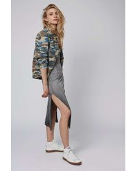 TOPSHOP - Gray Twist Back Dress - Lyst