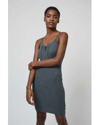 TOPSHOP - Gray Lace-up Mini Dress - Lyst