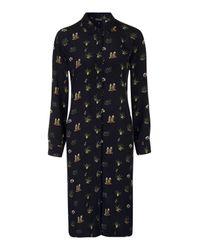 TOPSHOP | Black 'puritan' Floral Stripe Print Minidress (regular & Petite) | Lyst