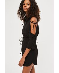 TOPSHOP - Black Tie Shoulder Shirt Dress - Lyst
