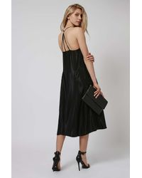 TOPSHOP - Black Satin Ring Back Slip Dress - Lyst