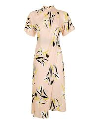 TOPSHOP | Natural Floral Drape Neck Midi Dress | Lyst