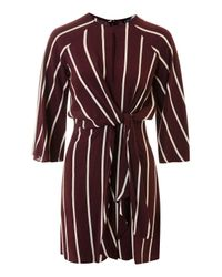 TOPSHOP | Red Mono Stripe Knot Front Dress | Lyst