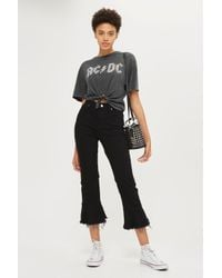 TOPSHOP   Gray Acdc Knot Crop Tee   Lyst