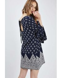 TOPSHOP - White Tile Print Dress By Band Of Gypsies - Lyst