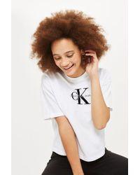 Calvin Klein - White Crop Logo T-shirt - Lyst