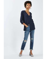 TOPSHOP - Blue Long Sleeve Slouchy Pocket Shirt - Lyst
