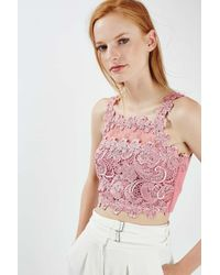 TOPSHOP - Pink Beautiful Lace Crop Top - Lyst