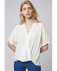 TOPSHOP - Purple Casual Lattice Drape Top - Lyst