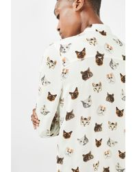 TOPSHOP - White Long Sleeve Multi Cat Print Shirt - Lyst