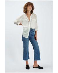 TOPSHOP - White Smart Oversized Crinkle Shirt - Lyst
