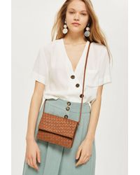 TOPSHOP - Brown Tan Leather Braided Cross Body Bag - Lyst