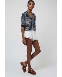 TOPSHOP - White Floral Crochet Shorts - Lyst