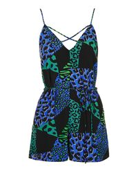 TOPSHOP | Blue Animal Print Mix-match Romper | Lyst