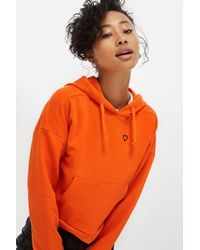 TOPSHOP - Orange Heart Outline Hoodie - Lyst