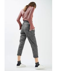 TOPSHOP - Gray Ruffle Check Mensy Trousers - Lyst