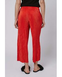 TOPSHOP - Red Pleat Trousers - Lyst