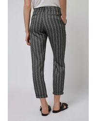 TOPSHOP - Gray Striped Peg Trousers - Lyst