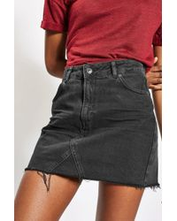 TOPSHOP - Black Moto Denim Mini Skirt - Lyst