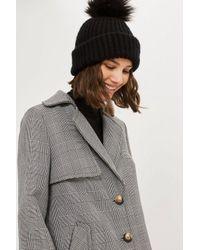 9ff003751c6 Lyst - TOPSHOP Faux Fur Pom Beanie Hat in Black