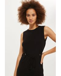 TOPSHOP Black Eyelet Detail Midi Tunic Dress