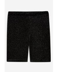 TOPSHOP - Black Glitter Cycling Shorts - Lyst