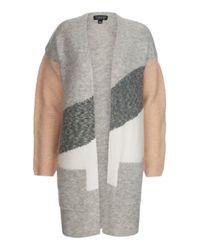 TOPSHOP | Gray Diagonal Patchwork Cardigan | Lyst