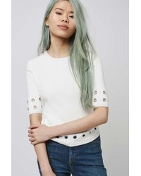 TOPSHOP - Natural Eyelet Half Sleeve Top - Lyst