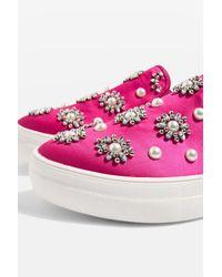 TOPSHOP - Pink Tilt Embellished Slip On Shoes - Lyst