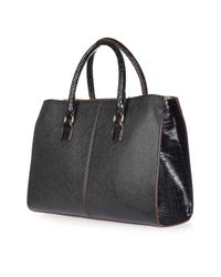 TOPSHOP - Black Henry Double Bar Tote Bag - Lyst