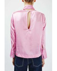 TOPSHOP - Blue Satin Tie Blouse By Boutique - Lyst