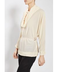 TOPSHOP | Natural Cowl Batwing Blouse By Boutique | Lyst