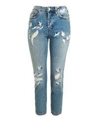 TOPSHOP | Blue Dirty Bleach Jamie Jean | Lyst