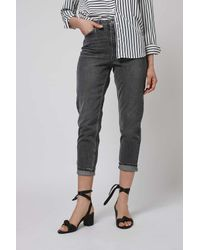 TOPSHOP - Gray Petite Grey Mom Jeans - Lyst