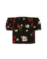 TOPSHOP | Black Petite Pressed Floral Bardot | Lyst