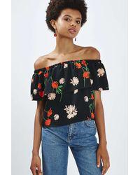 TOPSHOP - Black Petite Pressed Floral Bardot - Lyst