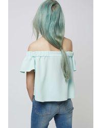 TOPSHOP - Blue Petite Bardot Top - Lyst