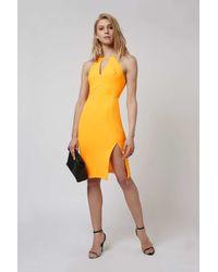 TOPSHOP - Yellow Petite Split Cut-out Midi Dress - Lyst